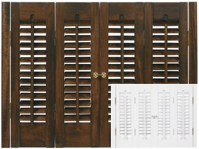 Stock size traditional shutter sets for Should plantation shutters match trim