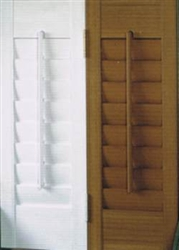 Stock shutters available in white or oak colors.