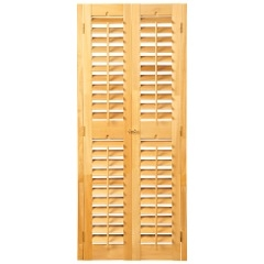 Stock shutters available in walnut or light teak stains.